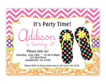 Flip Flop Invitation - Hop Pink Chevron, Orange Damask and Beach Sandals Personalized Birthday Party Invite - a Digital Printable File