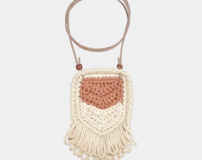 Featured listing image: Chevron • Necklace • Crochet Pendant • Colour: SOFT FUDGE + VANILLA