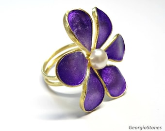 24K Gold & Purple Enamel Flower Ring with Natural Pearl - Adjustable Ring - Handmade in Greece