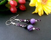 Wire Wrapped Earrings Gemstone Boho Jewelry Purple Frosted Agate Black Onyx Silver Copper Dangle Colourful Beads Bohemian Gift Her Festival