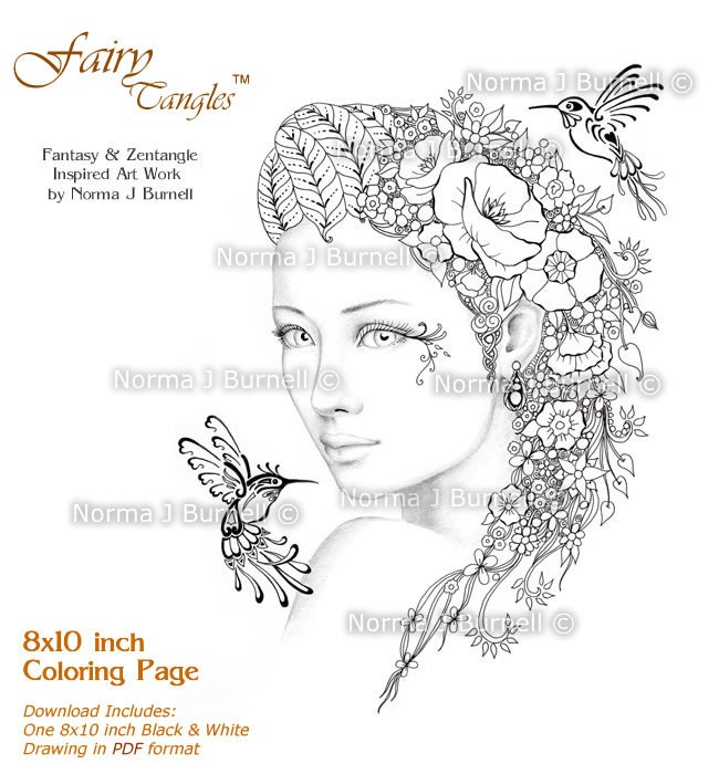 Hummingbird Whispers Fairy Tangles Adult Printable Coloring
