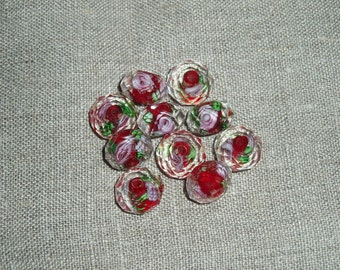 10 Pcs LampworkGlass Faceted  Flower Red 10x7mm