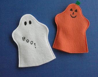 Halloween Felt Puppets / Ghost / Pumpkin
