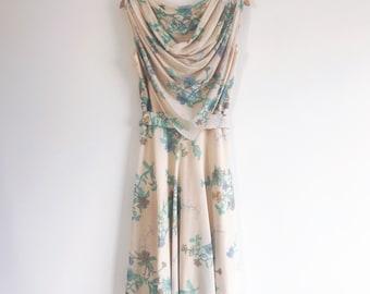 70s Vintage Floral Dress with cowl detail- size 8 UK