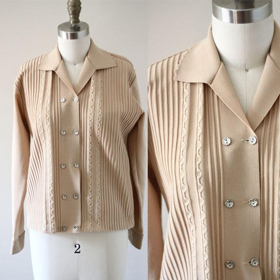 1970s tan disco top // double breasted blouse // 1970s brown blouse