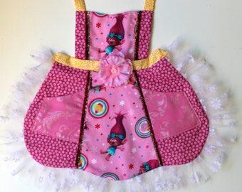 Troll  Apron, Poppy apron, toddler apron, girls apron