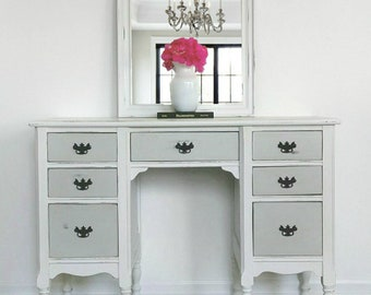Farmhouse Desk /Vanity with Mirror / Refinished / Refurbished /Gray and White Rectangular Desk / Inset Panels/ Updated Detailed Desk