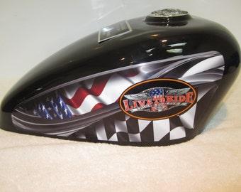 310 Black Adult Companion/ Double Motorcycle Gas Tank Memorial Cremation Urn-Live to ride