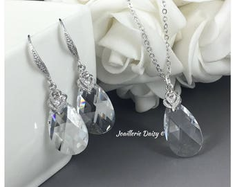 Swarovski Pear Pendant Necklace Jewelry Set Crystal Necklace Bridesmaid Jewelry Bridal Jewelry Set Gift for Her Wedding Crystal Jewelry