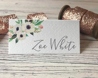 Rustic Floral Place Cards - Wedding Name Cards  - Reception Table Decor