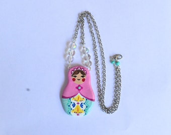 Matryoshka Babushka Russian Nesting Doll Jewelry Large Statement Necklace Pendant Rolo Chain