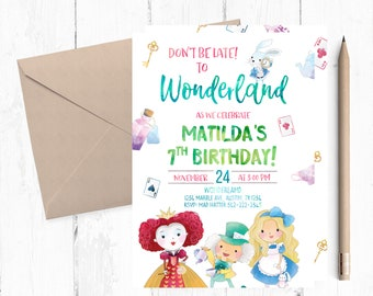 Alice in Wonderland invitation, Alice in Wonderland Invitations, Alice in Wonderland Birthday Party, Alice in Wonderland Invites, Alice,