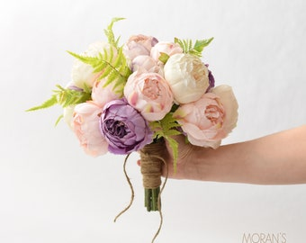 Peonies Bouquet on SALE,Silk Peonies,Twine Stem Wrap,Ivory Peonies, Lavender Peonies,Light Pink Peonies,Summer Bouquet,Spring Bouquet