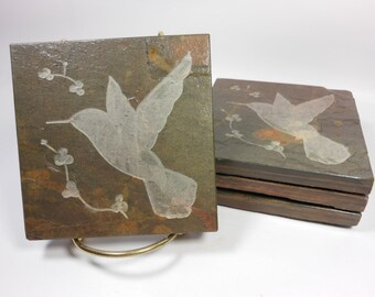 Hummingbird Coasters - 4 Etched Stone , Sturdy Slate Coasters, Bird Coasters, Carved Slate Coasters, Natural Drink Coasters, Nature Coasters