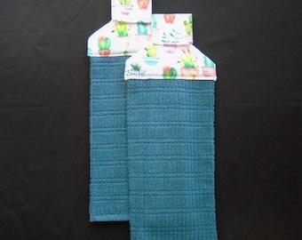 Colorful Cactus Hanging Dish Towels (Set of 2)