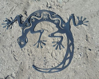 "Party Gecko Plasma Metal Wall Art Tropical Outdoor Southwest Lizard Home 20"" x 26.5"""
