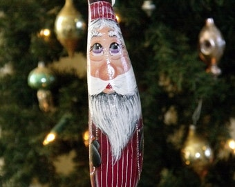 "Hand Painted Burgundy Cloaked 7"" Santa Gourd Ornament - Folk Art - Primitive Santa - Tree Decor - Original Design - Gourd Ornament - Decor"