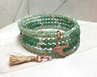 Aventurine and Pink Crystal Wrap Bracelet with Copper Sparrow and Tassel Charm