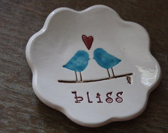 Ring Dish Engagement Gift Wedding Gift Love Bird Ring Dish Ceramic Ring Bowl Love Birds Bliss Ring Bowl Gift Boxed