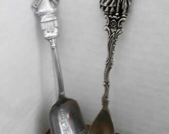 Collectible Dutch Sugar Demitasse Spoons Rotating Windmill Blades and Gero Couple