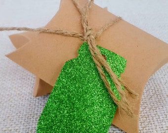 Mason Jar Glitter Tag (Green)