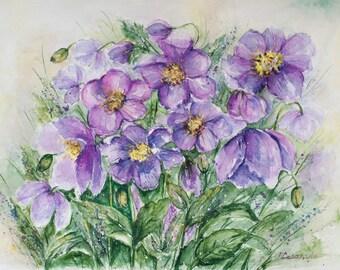 Watercolor flowers, art bride gift, Original watercolor painting flowers, Purple painted flowers, Aquarelle Wall Art, anniversary  gift, art
