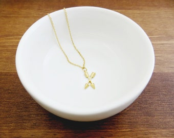 Gold Double Arrow Charm Necklace - 14k Gold Filled Chain or Satin Hamilton Gold Plated Brass Chain (Follow Your Arrow)