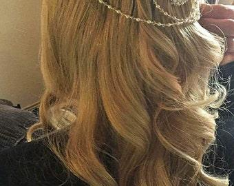Bridal headpiece adorned with Swarovski pearls & crystals, Wedding hair jewellery tripple hairpiece back drapes chains bride head hair piece