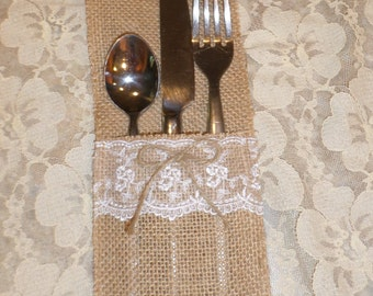 Burlap and Lace Utensil Holder, Rustic Wedding Table Decor