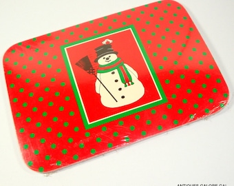 Unopened Package of 12 Vintage Christmas Postcards, Holiday Post Cards, Snowman, Red, Green Dots, New Old Stock, Woolworths  (152-14)