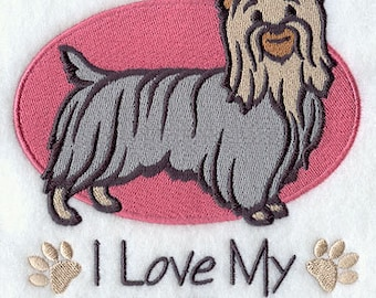 I Love My Silky Terrier Embroidered Flour Sack Hand/Dish Towel