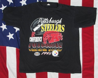 Vintage 1990's Pittsburgh Steelers Graphic T-Shirt Large 1995 AFC Champions Superbowl XXX NFL Football Pennsylvania Black Gold Bill Cowher