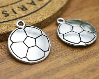 Soccer charm etsy soccer charms 10pcs antique silver sports charm pendant 20mm double sided m204 3 mozeypictures Image collections