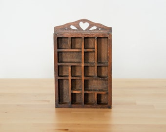 Vintage Miniature Curio • Mini Wood Shelf • Thimble Display Case • Tiny Wooden Cubby • Primitive Home Decor • Victorian Ornament Rack