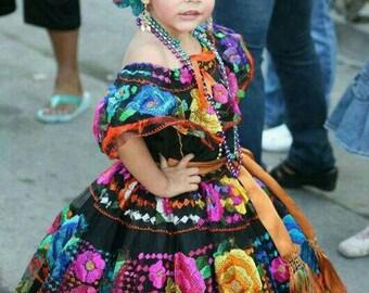 Chiapas Large Flower Full Skirt Dress/Original Hand Embroidered Folk Dress/Mexican Ethnic Dress,Costume Dress,Festival Dress  2/10