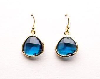 Sapphire Blue Earrings in Gold, Drop Earrings, Dangle Earrings, Wedding Jewelry, Bridesmaid Jewelry