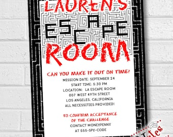 Escape Room birthday party invitation breakout room unlock