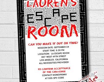 Escape Room Invitation, Escape Party Invitation, Escape Room Party, Escape Room Birthday, Puzzle Party, Maze Birthday Party  | PRINTABLE