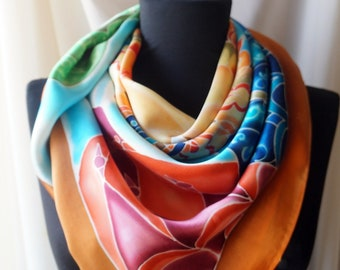 The Wind of Journey - Hand painted - Silk scarf - Silk shawl