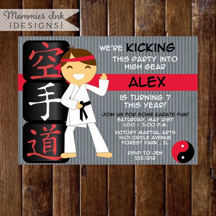 Karate Invitation Karate Birthday Invitation Karate Birthday
