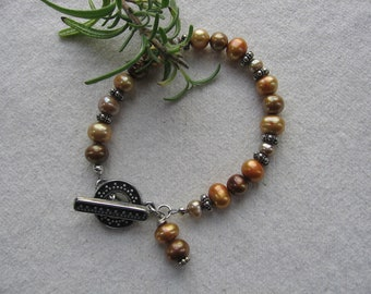Bronze and Tan Freshwater Pearl Bracelet