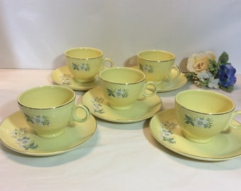 Vintage 1950's Cup And Saucer Sets (5) Yellow Gold Trim Floral Design