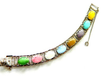 Sarah Cov Party Pastels Bracelet Vintage Modern Moonglow Cabochon Pastel Rainbow Glow 1960's Jewelry Gift For Her SALE Reduced Was 22.99