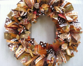 Fall Wreath for Front Door, Thanksgiving Wreath, Wreath for Fall, Fall Rag Wreath, Holiday Wreath, Fabric Wreath, Autumn Front Door Wreath