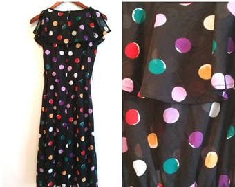 1970s party dress sheer black dress vintage sheer dress rainbow polka dot dress, vintage party dress sleeveless sheath dress women's medium