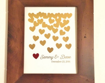 Custom Wedding Gift- Gold Foil Print- Falling Hearts