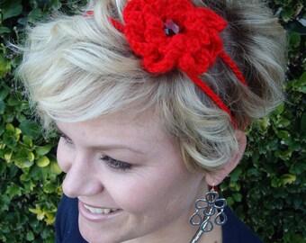 Crochet - Red crocheted flower 2 strand headband/with red gem