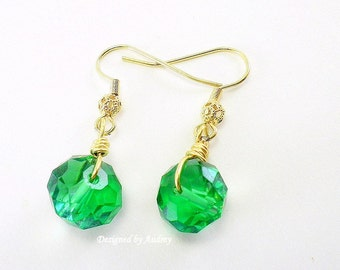 Green Crystal and Gold Drop Earrings
