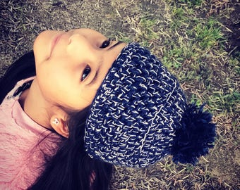 Crochet navy blue and rose gold beanie/hat.