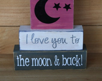 I Love You to the Moon and Back- Stacking Blocks